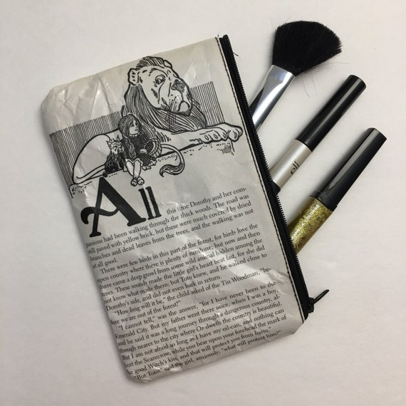 Wizard of Oz Book Themed Vinyl Pencil or Make-Up Pouch - Dorothy and the Cowardly Lion