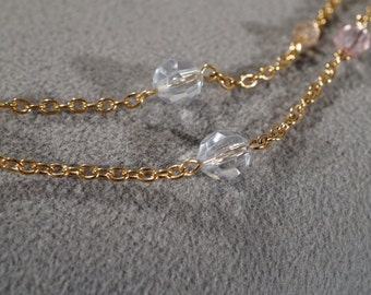 Vintage Art Deco Style Yellow Gold Tone Glass Beads Two Strand Necklace Jewelry -K#12