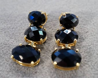 vintage sterling silver with gold overlay dangle drop earrings with three oval faceted black onyx stones  M3
