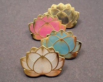 Lotus Flower Enamel Festival Hat Pin (Available in Pink, White, Black, Blue)