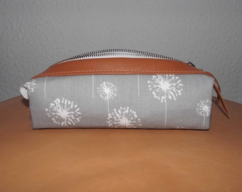 PANI pencil-case, cosmeticbag made of cotton and leather