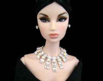 "Rhinestone Doll jewelry for Fashion Royalty, Barbie, and similar 12"" fashion dolls by SohoDolls, necklace and earrings"