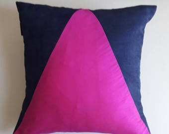 Cushion. Square suede and TAFFETA; Blue and pink FUSCHIA