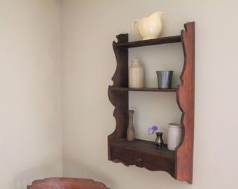 Wall Hanging Shelf - Country Kitchen Decor - Drawer - Dark Wood - Scroll Cut - Antique / Vintage - Wood / Wooden primitive