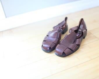 vintage woven tan leather t strap hurache sandals womens 7