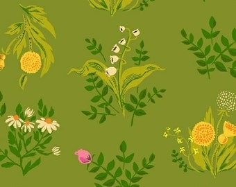 Half yard - 1/2 yard -  Bouquet in Olive - SLEEPING PORCH Lawn fabric by Heather Ross for Windham Fabrics