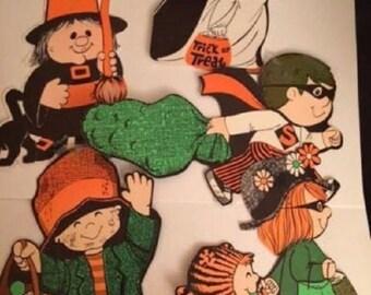 Vintage   Orange Black Green Halloween Children Trick or Treaters Decorations