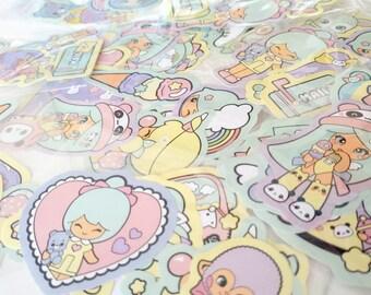 Super cute chic kawaii stickers set.