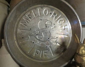 Pie Plates Metal Mrs. Smith's MELLO-RICH PIE Co.   //  Two Matching Set  //  Antique Vintage Pie Plates Tin or Metal with Punched Holes