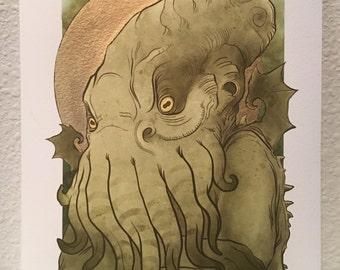 Cthulhu: LIMITED EDITION gold leaf prints