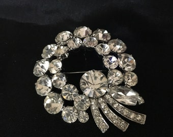 Large Vintage Weiss Clear Rhinestones Statement Brooch Pin