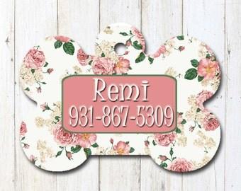 Pet ID Tag/Dog ID Tags/Custom Pet Tags/Dog Bone Pet ID Tag/Microchip Pet Tag/Floral Pet Tags/Cat Tags/Vintage Rose Pet Tag/Rose Pet Tags