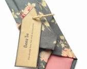Mens floral tie rose print tie mens grwy tie skinny tie mens skinny tie dark blue tie wedding tie mens floral tie