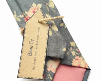 Mens floral tie, rose print tie, mens grey tie skinny tie, mens skinny tie, dark blue tie, wedding tie, men's floral tie