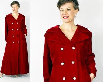 "Velvet Coat / Lane Bryant Coat / XL Vintage Coat / Plus Size Coat / 1950s Coat / 50s Coat / Princess Coat / Full Length Coat / Bust to 48"""