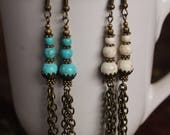 RHYTHM Semi-precious magnesite boho earrings dangle drop earrings with chains SusanRodebushArts