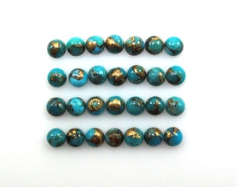 Blue Copper Turquoise Cabs 3mm Round Beautiful Blue Color Accented with Gold Tones (11868)