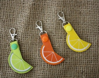 Orange-Lemon-Grapefruit-Lime-Citrus Slice Key Fob/Snap Tab/KeyChain