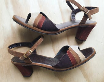 1960's Scalloped Brown Ombre Sandal Pumps with Adjustable Ankle Strap - Kitten Heels - Pin Up - Neutral - Open Toe - Sandal - Vintage