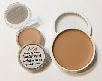 SANDALWOOD Perfecting Cream Foundation - Creamy Foundation Concealer Makeup - Vegan Gluten Free