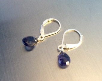 Deep Blue Iolite Drop Earrings