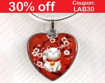 Red Maneki Neko Pendant, Maneki Neko Necklace, Lucky Cat Jewelry, Beckoning Cat Charm, Talisman, Japan, Japanese, Welcoming Cat, Fortune