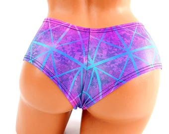 Northern Lights Cracked Tile Holographic Lowrise Sexy Ultra Cheeky Booty Shorts  Rave Booty - 154493