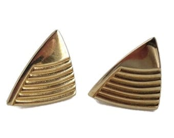 Speidel Men's Cufflinks, Vintage Triangle Cuff Links, Gold Tone Ridged Cufflinks, Men's Suit Accessory, Gift for Him
