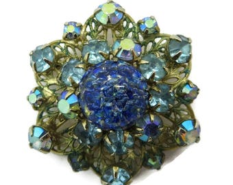 Kramer Brooch Blue AB Rhinestone Art Glass Gold Metal Vintage Estate Costume Jewelry, FREE SHIPPING