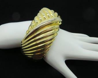 Chunky Swirl Bangle Vintage Gold Tone Hinged Cuff Wide Bangle Bracelet Gift Idea
