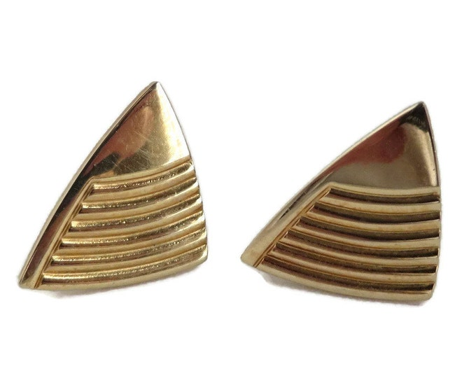 Speidel Triangle Cufflinks, Vintage Gold Tone Ridged Cuff Links, Men's Suit Accessory, Gift for Him, FREE SHIPPING