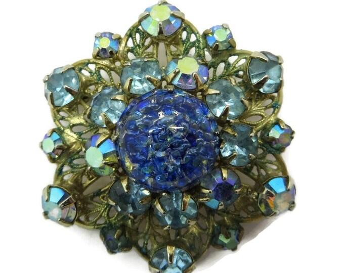 Kramer Brooch Blue AB Rhinestone Art Glass Gold Metal Vintage Estate Costume Jewelry