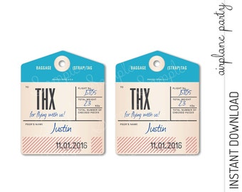 Airplane Favor Tag, Airplane Thank You Tag, Airplane Party Favor INSTANT DOWNLOAD you personalize at home