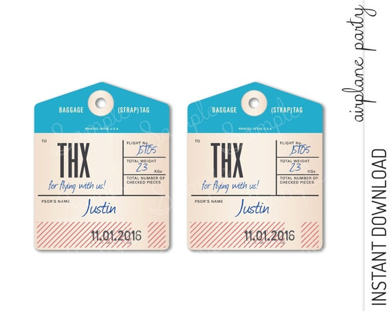Airplane Favor Tag INSTANT DOWNLOAD