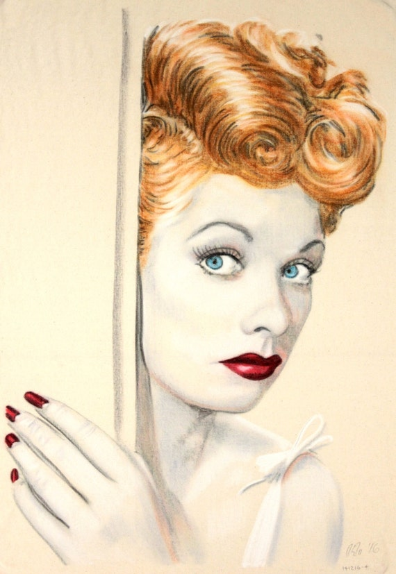 Original hand drawn portrait of Lucille Ball, in charcoal and pastel on calico