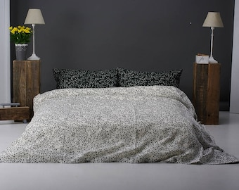 Linen Bedding Set Stonewashed Black White Floral