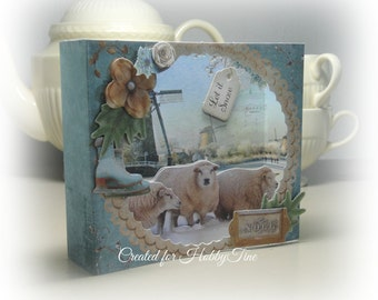 Handmade 3d Diorama card Shabby Chic Christmas with dutch background