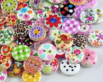 80 x 15mm Mixed Wooden Buttons