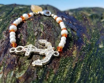 Anchor and swarvoski crystal bracelet