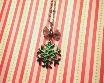 Snowflake Christmas Bow Necklace