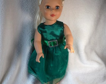 """18"""" doll green holiday party dress"""