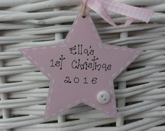Baby's First 1st wooden star christmas tree decoration personalised pink 8cm