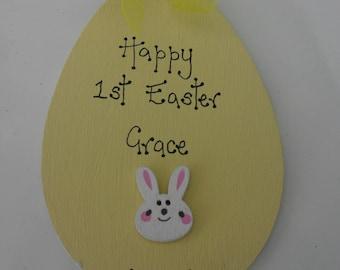 1st first Easter personalised wooden egg lemon
