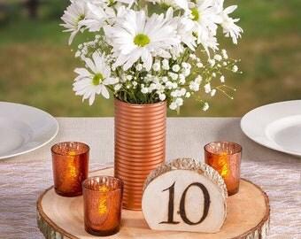 Rustic Wood Slice - Wedding Reception - Centerpieces - Bride Groom