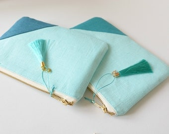 Aqua Gold Linen Pouch- Bridesmaid clutch -Beach Wedding - Linen Zipper Pouch with Tassel- Nautical Organizer -Cosmetic Pouch
