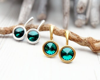 Small Swarovski Earrings-Round Crystal-Emerald Green Crystal Earring-Swarovski Jewellery-Silver Gold Plated Earring- Everyday Earrings
