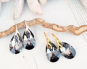24k Gold Plated Sterling Silver Swarovski Earring-Teardrop Earring-Swarovski Crystal Jewellery-Silver Night-Bridesmaids Dangle Drop Earrings