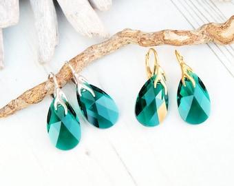 Sterling Silver 24k Gold Plated Swarovski Earrings-Teardrop Earrings-Swarovski Crystal Jewellery-Emerald Green Bridesmaids Dangle Earrings