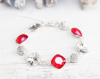 Swarovski red clear crystal bracelet Sterling Silver jewellery Solid silver wedding bridal bracelet Bridesmaids cushion cut crystal bracelet