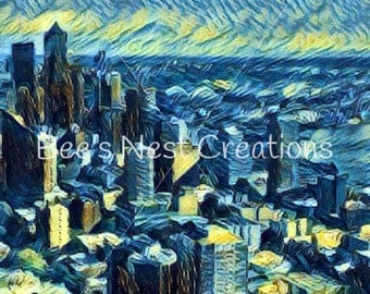 Starry Night Seattle Digital Art Print